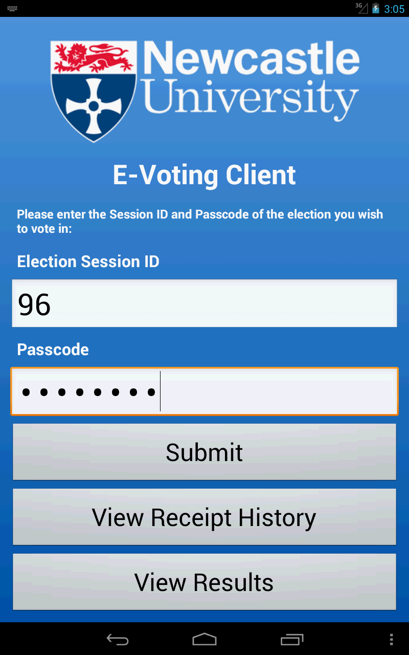 Fig. 2: Login screen for the voting client The system is only veriable when the voting questions are of the rst two types (our veriable voting protocol requires knowing the names of the candidates