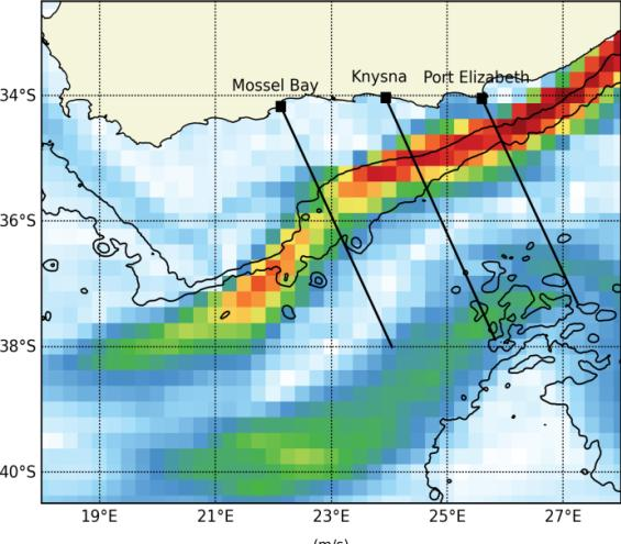 Tracking the Agulhas Current with Altimetry In the southern Agulhas Current (south of 34S), altimetry can be used to track the position of the Agulhas Current quite successfully.