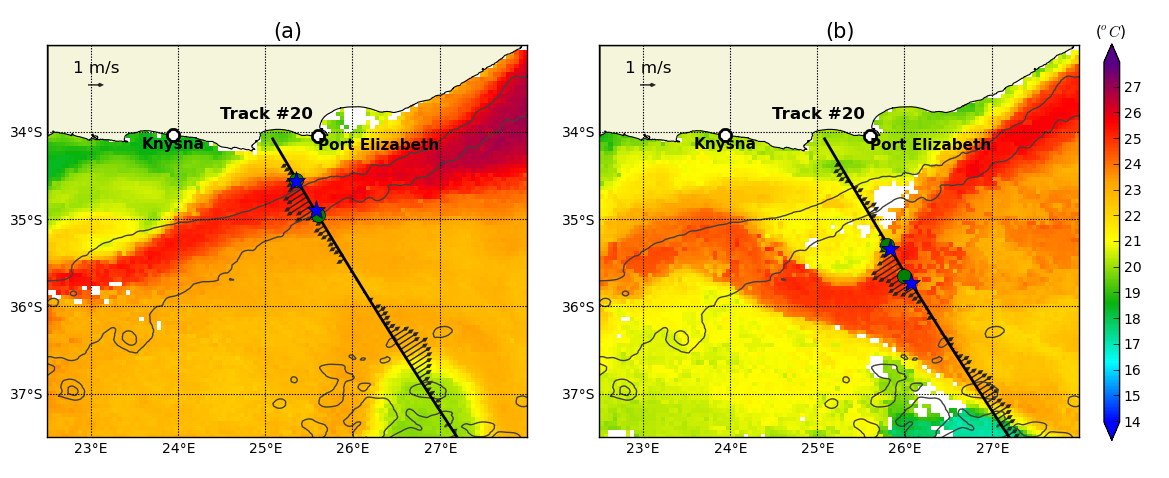 Approach The Agulhas Current is a strong and narrow flow which is well captured in satellite observations of Sea Surface Temperature (SST) and geostrophic currents (derived from the altimeters Sea