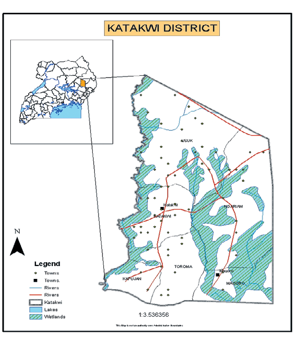 Topic II Preventing and managing salinization 133 Figure 1 Map of Uganda showing the location of Katakwi district. 687 people of which 12 902 were male and 13785 were female.
