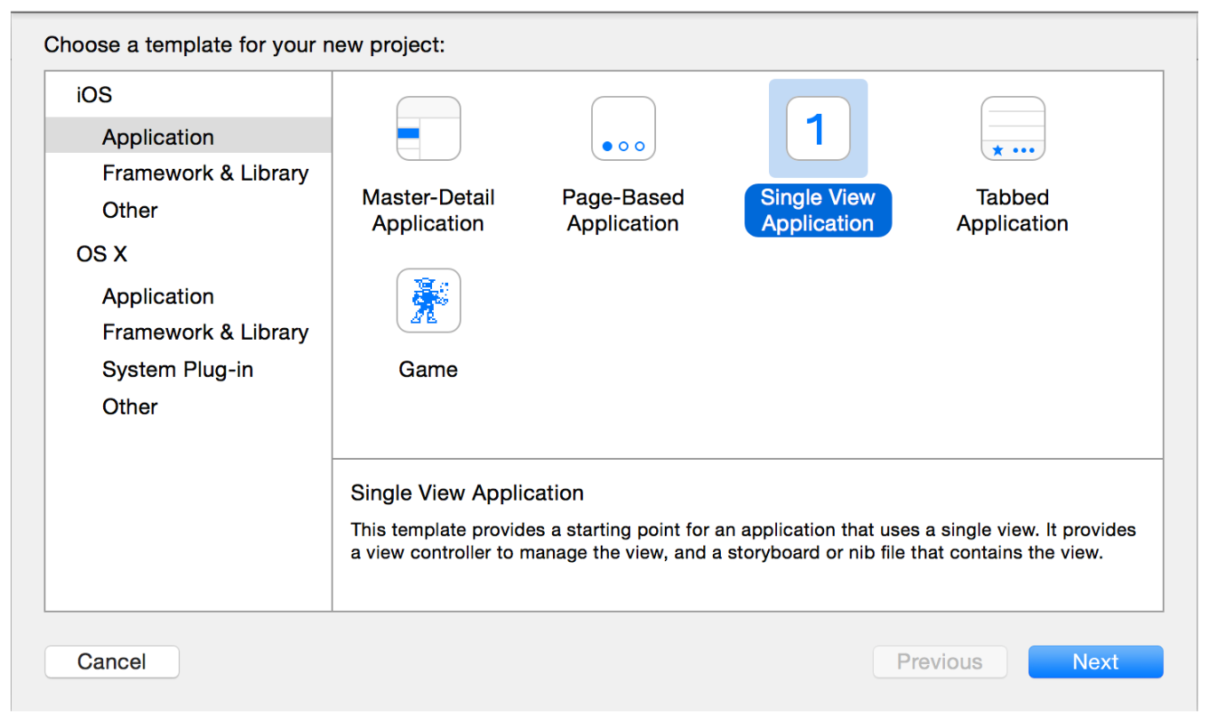 Tutorial: Basics Create a New Project Xcode opens a new window and displays a dialog in which you choose a template. 3.