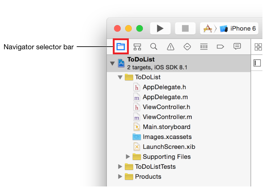 Tutorial: Basics Review the Source Code The project navigator displays all the files in your project. If the project navigator isn t open, click the leftmost button in the navigator selector bar.