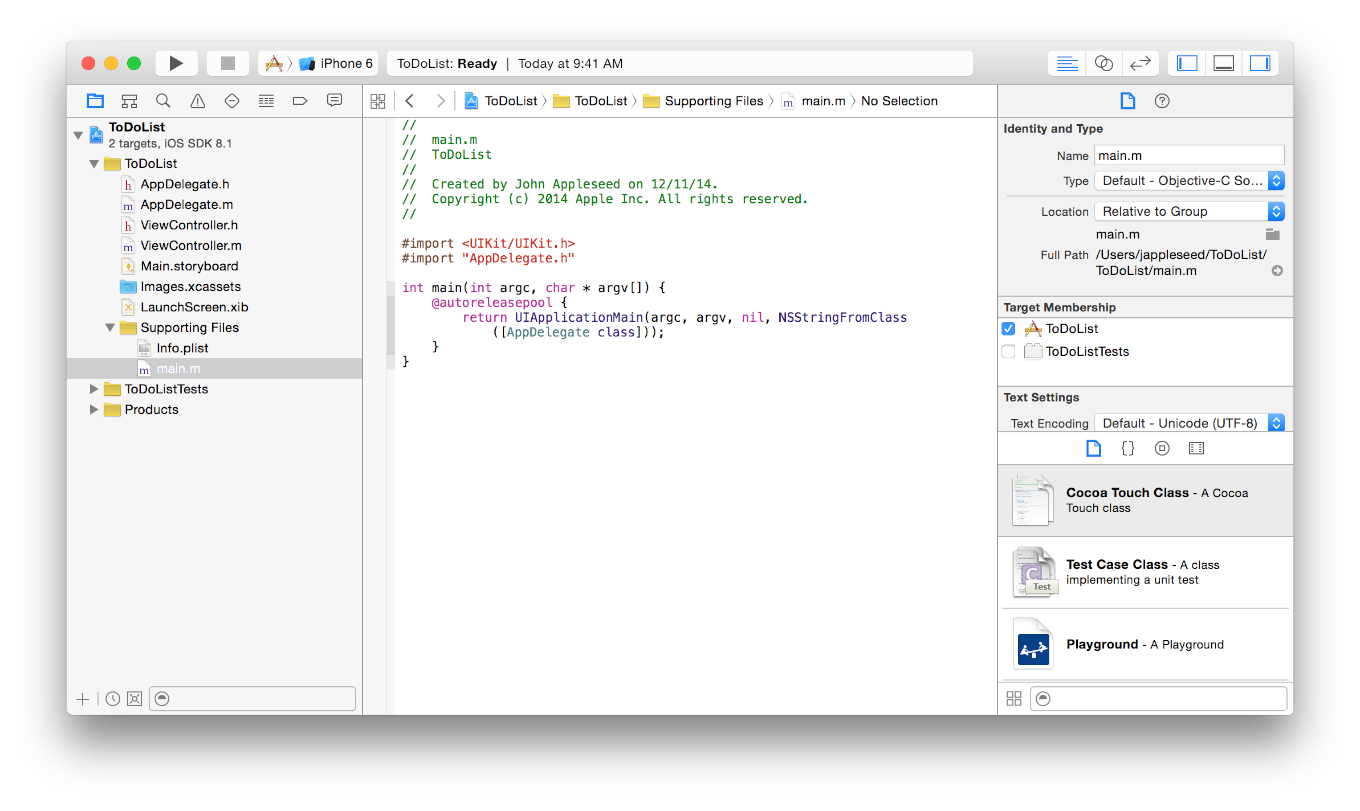 Tutorial: Basics Review the Source Code Xcode opens the source file in the main editor area of the window. Alternatively, double-click the main.m file to open it in a separate window. The main.