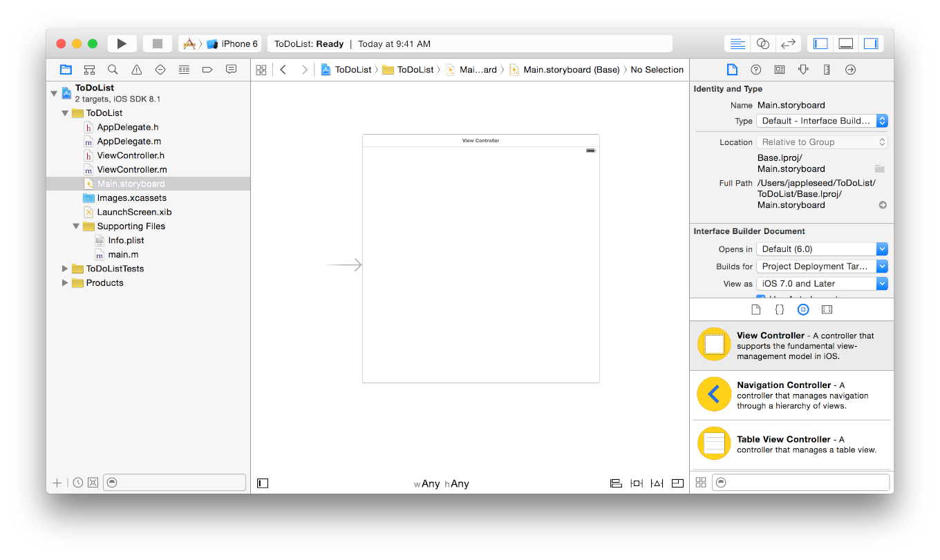 Tutorial: Basics Open Your Storyboard Open Your Storyboard You re ready to start working on a storyboard for your app.