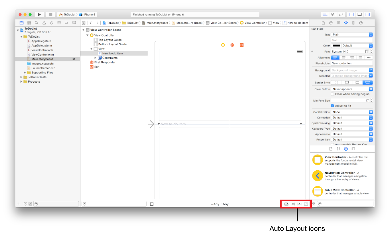 Designing a User Interface Use Auto Layout to Position Views As you already saw in Tutorial: Basics (page 11), Xcode offers a tool called Auto Layout to help create a versatile, adaptive interface.