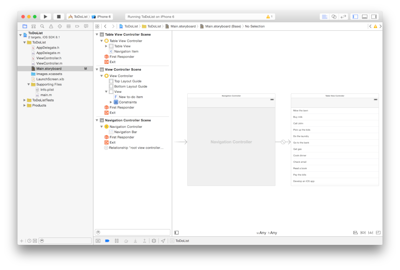 Tutorial: Storyboards Add a Segue to Navigate Forward Xcode adds a new navigation controller to your storyboard, sets the storyboard entry point to it, and creates a relationship between the new
