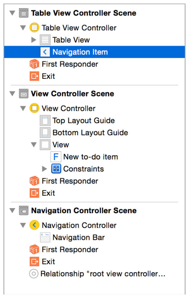Tutorial: Storyboards Add a Segue to Navigate Forward Now, you ll add a title (to the to-do list) and a button (to add additional to-do items) to the navigation bar.