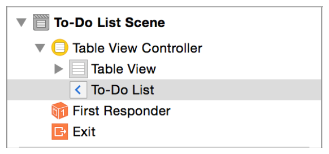 Tutorial: Storyboards Add a Segue to Navigate Forward 2. In the Attributes inspector, type To-Do List in the Title field. Press Return to save.