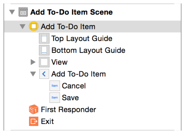 Tutorial: Storyboards Create Custom View Controllers Notice that Xcode changed the description of your add-to-do-item view controller from View Controller to Add To-Do Item in the outline view.