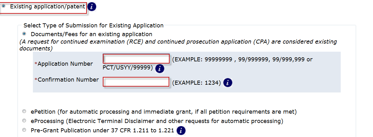 To submit a request for Prioritized Examination for an RCE, on the certification screen select the radio button Existing Application. The Web screen will expand to display additional options.