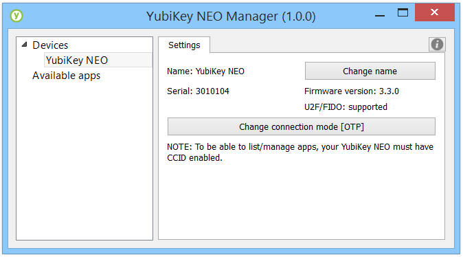 YubiKey NEO Manager In order to enable or disable modes on your YubiKey NEO or NEO-n, you need to download the newest version of the Yubico NEO Manager.