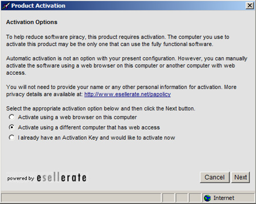 Cancelling the error message allows you to activate a license manually using a different computer that has