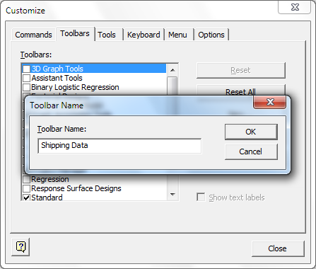 Customizing Minitab Create a custom toolbar Use Tools > Customize to create new menus and toolbars that contain the commands that you use frequently.