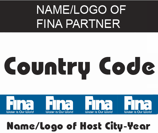 The maximum height of the identification above the digits shall be 6cm. The identification may display the name/ FINA Partner s logo.