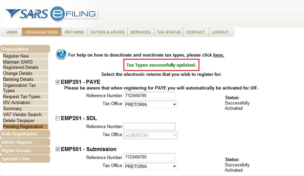 7.2 REQUEST YOUR DECLARATION ON efiling Step 1: Select <Returns> from the