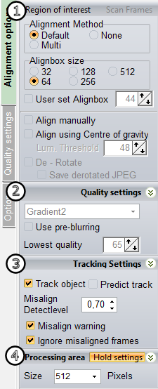 2) Quality settings group The quality settings group allows the user to select a qualityestimator.