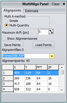 ALIGNPAGE Toolwindows When the user selects MULTI in the Alignment-method box the MultiAlignpanel will pop-up. This toolwindow allows the user to load alignpoints/save alignpoints/create alignpoints.