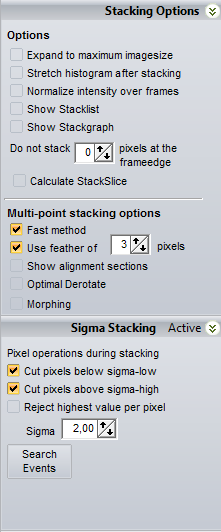 STACKPAGE Stacking options Expand to maximum imagesize Setting this will expand the final stacked image to the maximumsize (based on all the image-shifts).