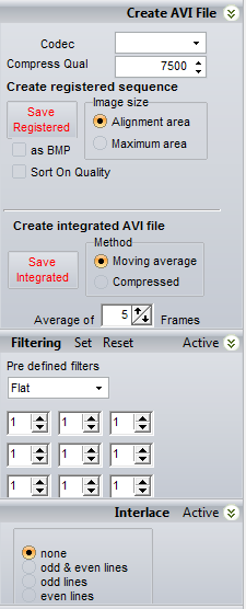 Create AVI File Sometimes RegiStax users want to save a registered set of images into an AVI-file. The Create AVI file group has all controls to do this.