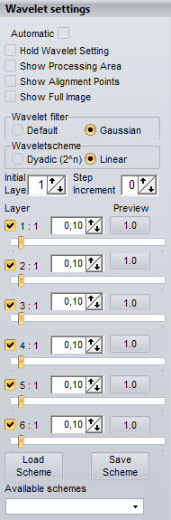 WAVELETPAGE These are the common controls available at the waveletpage. Automatic When this is set every change in the settings of for instance the wavelet-schemes will be directly visible.