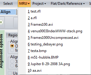 AVI, SER (8..16 bits) and RFL (RegiStax Framelist format). All these formats have multiple-frames in one file and thus are the easiest way to process large groups of images.