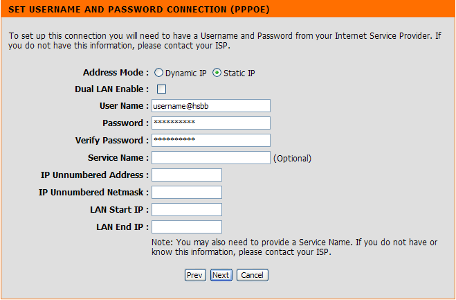 Section 3 - Configuration Select the type of Internet connection you use and then configure the information below.