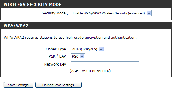 Section 3 - Configuration 1. To enable Enable WPA/WPA2 Wireless Security (enhanced). 2. Next to Cipher Type, select TKIP, AES, or AUTO(TKIP/AES). 3. Next to PSK / EAP, select PSK. 4.
