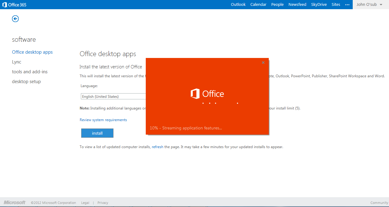 Log in to Office 365 from a browser to update your user profile and install the latest version of the Office apps