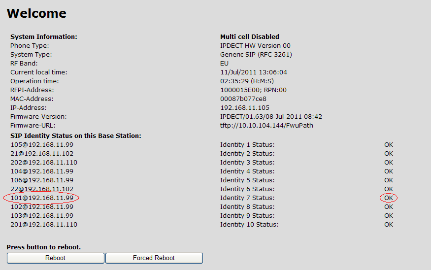 STEP 22 Open the HTTP interface of relevant base unit > On the Home/Status page, you can check the current