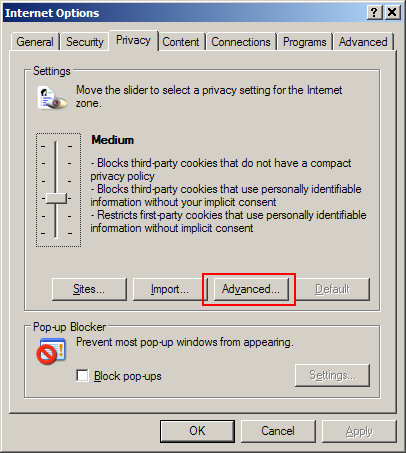 4.1 Cookie Policy Configuration The default Privacy setting for IE 6.0 is Medium and this setting is typically sufficient to ensure the proper handling of cookies used by the Taleo application.