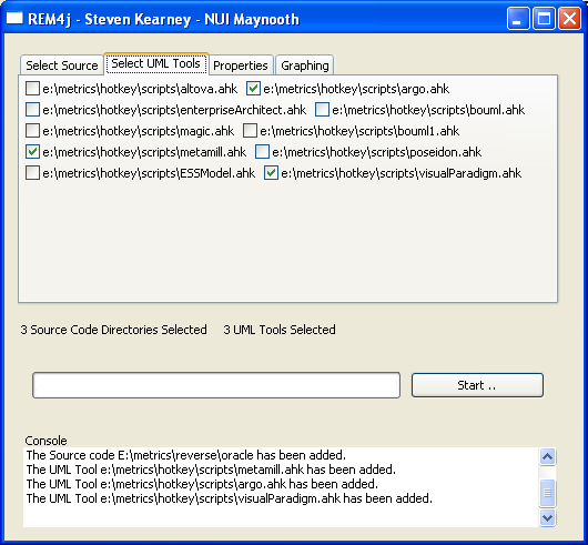Figure 2: REM4j - Selecting Source Code.This is a screen shot of the REM4j tool in action, showing two windows that allow the user to select the source code to be reverse engineered.