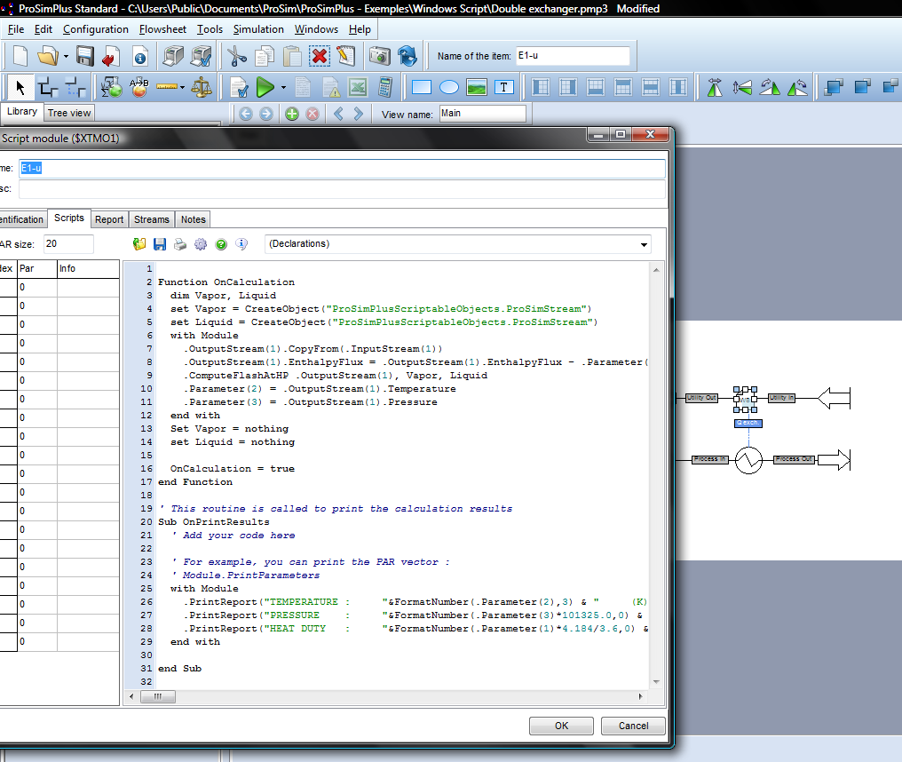 113 Figure 4.2. Windows Script in ProSimPlus The calculation of the exergy is based on the procedures (Figure 4.