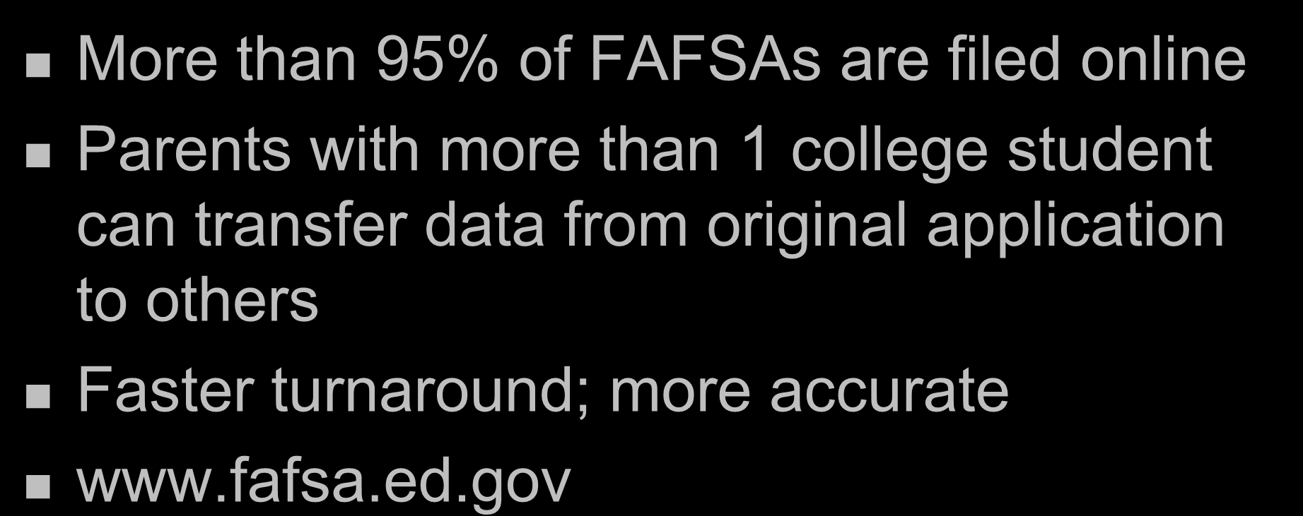 Completing FAFSA on the Web More than 95% of FAFSAs are filed online Parents with more than 1 college