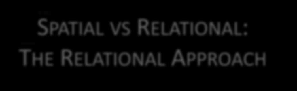 SPATIAL VS RELATIONAL: THE RELATIONAL
