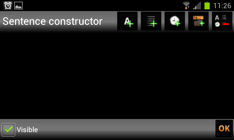 Administrator Usuario manual Final Figure 9. Displaying sentences from category Car. 5.1. NEW SENTENCE To create a new sentence, tap on the constructor section.