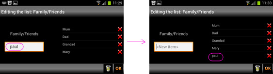 Administrator Usuario manual Final 6.2. EDIT LIST To edit a list, access the Editing List section through the Sentence Constructor of a sentence where the list appears and tap on it.