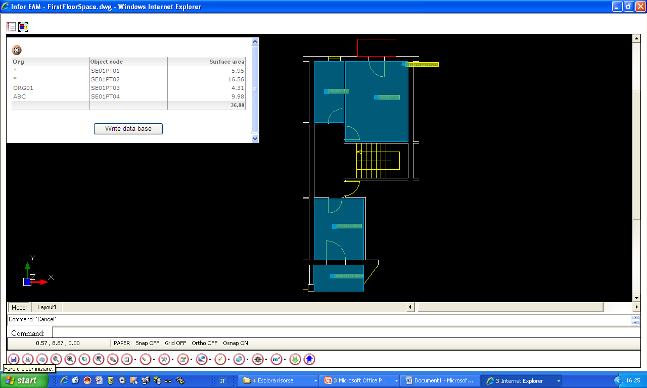Room surface calculation 1- Able to use graphic entity polyline 5 Update database 4- Check