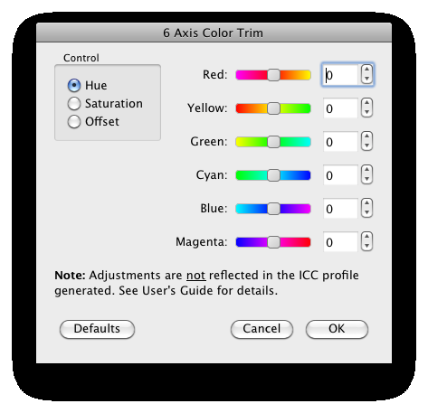 14 MULTIPROFILER - USER S GUIDE 6 Axis Color Trim The 6 Axis Color Trim control is accessed from the Edit menu in the Picture Mode panel.
