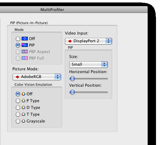 15 MULTIPROFILER - USER S GUIDE PIP panel The PIP panel controls the settings for the Picture- In-Picture feature on the monitor.
