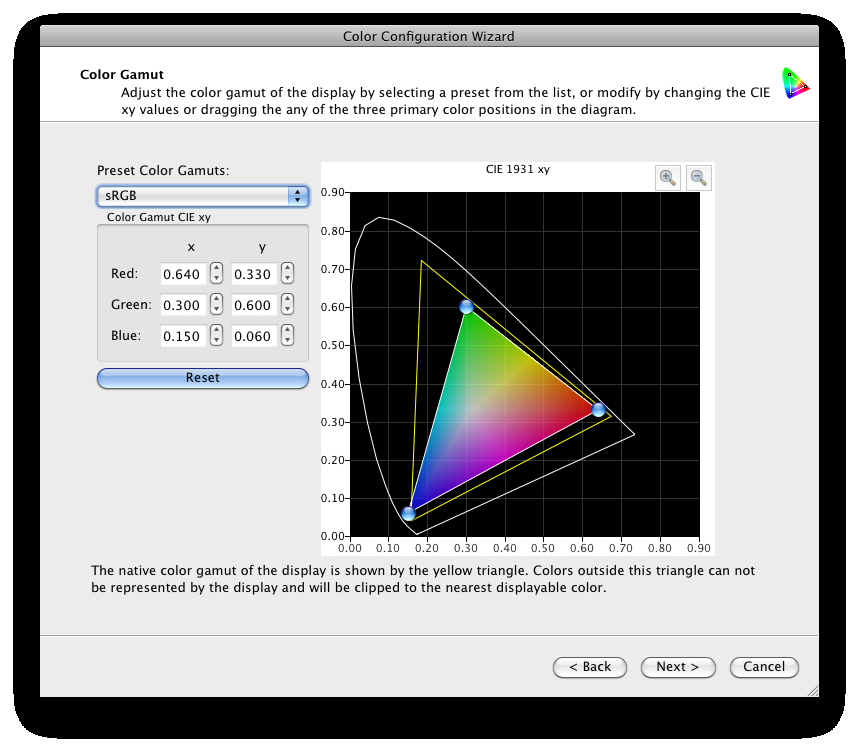 28 MULTIPROFILER - USER S GUIDE Color Gamut adjustment wizard page The Color Gamut page is available with the DICOM, High Brightness and Full presets, and Custom Picture Modes.