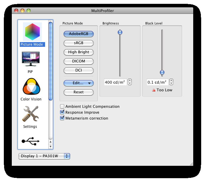 38 MULTIPROFILER - USER S GUIDE 4 Example Usage Scenarios Color Managed Workflow with Print Emulation In this example, the monitor will be configured for use in a color managed workflow that utilizes
