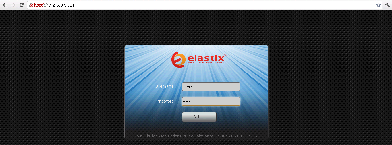 4.0 Setup Procedure To set up the Elastix Server for the Allo PRI Gateway 1. Go to the web address of the Elastix Server Login page.