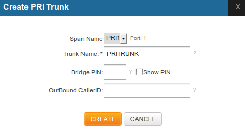 Figure 4-11. SIP Configuration 15. Click on CREATE button. Now we have to create a PRI trunk that is going to use one of the PRI ports in the gateway.