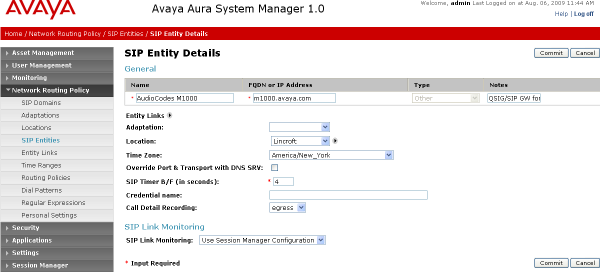 The following screen shows addition of Communication Manager. In this case, FQDN or IP Address is the Fully Qualified Domain Name (FQDN) of the C-LAN board in the Avaya G650 Media gateway.