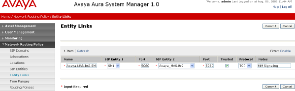 4.5 Add Entity Links A SIP trunk between Session Manager and a telephony system is described by an Entity link.