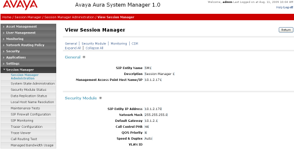 4.9 Add Session Manager To complete the configuration, adding the Session Manager will provide the linkage between System Manager and Session Manager.