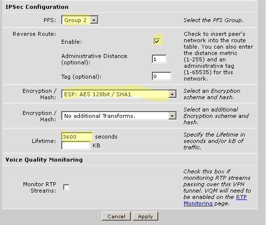 You then must select the IKE attributes for connection EtherSpeak.