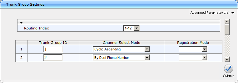 AudioCodes Mediant 1000 Configuration Guide Page 6 Configuration > Protocol Configuration > /IP Group > Group Settings Create two trunk groups: Group ID 1 Channel Select Mode