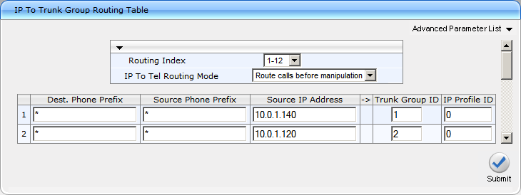 AudioCodes Mediant 1000 Configuration Guide Page 8 Routing Table IP to Group Configuration > Protocol Configuration > Routing Tables > IP to Group Routing This page allows you to route calls from IP