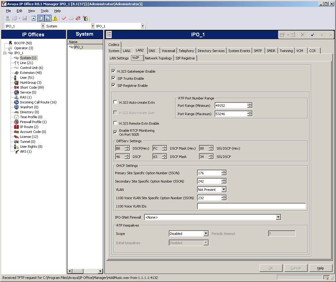 SIP Registrar tab: This tab is used to set the system parameters for the system acting as a SIP